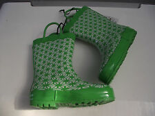 BNWT Little Girls Sz 11 Quality Rivers Doghouse Brand Cute Lime/White Gumboots