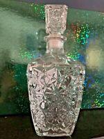 EXQUISITE VINTAGE SOVIET CUT GLASS VODKA or LIQUOR HEAVY FACETED DECANTER CARAFE