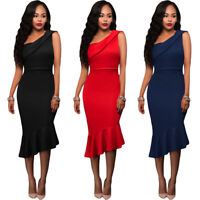 Single Shoulder Ruffle Formal Elegant Party Dress Bodycon Fish Tail Midi Skirt