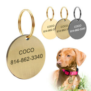 Custom Personalized Pet Dog ID Tag Round Shape Free Engraved Name Identification