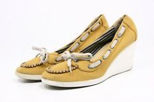 """BC Boat Shoes Womens Size 8 Yellow Canvas Platform 3"""" wedge heels Casual Dress"""