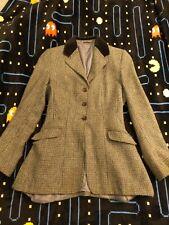 Hacking Jacket blue tweed velvet collar ladies size 34