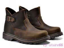 Men's Work Boots Vintage Retro Leather High Top Buckle Belt Ankle Boots Cowboy
