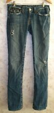 Men's TRUE RELIGION Jeans BILLY Distressed Blue Zip Fly USA Made Size 28