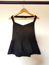 Boohoo womens size 12 BNWT black Lydia textured panel peplum halter top
