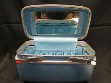Vtg. TOWNCRAFT SILHOUETTE Travel Train Case Luggage BLUE Vanity & Tray with Keys
