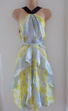 H&M Conscious Exclusive 2017 yellow floral silk chiffon dress UK 10 EU 36 US 6