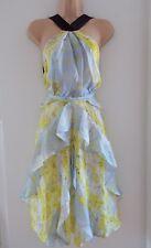 H&M Conscious 2017 Yellow Floral Silk Chiffon Dress UK 10 EU 36 US 6