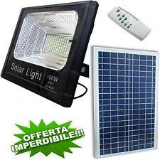 Faretto Faro Led Pannello Energia Solare Fotovoltaico Crepuscolare Batteria 100W