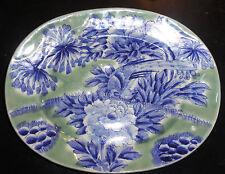 Japanese Platter Late Edo Period w/ Chinese Markings Blue White Celedon 19th C