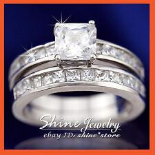 REAL 9K SOLID WHITE GOLD SQUARE ENGAGEMENT WEDDING DIAMOND SIMULANT LADIES RING
