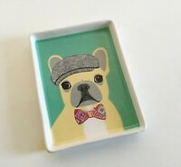 Whimsical French Bulldog In Bow Tie and Newsboy Cap Ceramic Vanity Snack Tray