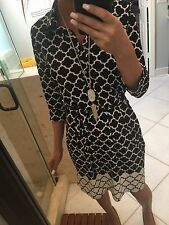 Max Studio Dress S Black & White Rayon Trellis Print Belted New Nwt