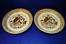2 Royal China Norman Rockwell Pie Bakers Thanksgiving Christmas Fall Brown Plate