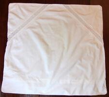 Grande Taie d'oreiller en lin 79 x 72 cm à entre-deux de dentelle et monogramme