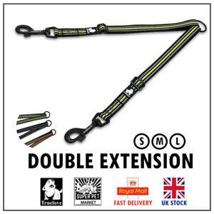 Double Leash Lead Extension Extender Dog Splitter Coupler Truelove Twin S M L