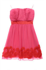 Miss Sixty Womens 7758 Combo Pleated Chiffon Strapless Cocktail Dress 8