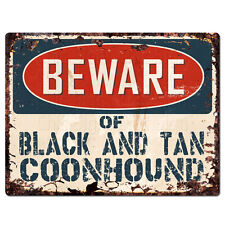 Ppdg0177 Beware of Black And Tan Coonhound Plate Rustic Tin Chic Decor Sign
