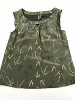 Anthropologie Sariah Olive Green Print Lined Sleeveless Silk Blouse Top 4 S M