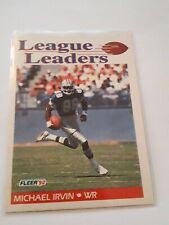 1992 MICHAEL IRVIN DALLAS COWBOYS #455 FLEER 92 LEAGUE LEADERS NFL FOOTBALL CARD