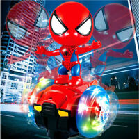 Spiderman Doll Colorful Lights Electric Balance Scooter Bike Stunt Car Toy Music