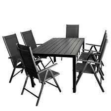 Gartengarnitur Sitzgruppe Gartentisch Polywood 150x90cm +6x Aluminium Hochlehner
