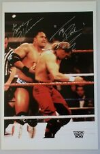 INCREDIBLY RARE HAND SIGNED THE ROCK 11 X 17 COLOR PHOTO PLUS EARL HEBNER WWF