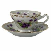 Vintage NW-215/122 Sweet Violet Japan Gold Trim Tea Cup and Saucer Set Tea Time!