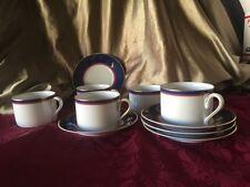 2021A Mikasa Grandeur Blue 5 teacups & saucers.