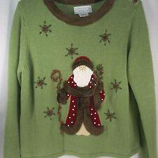 Ugly Christmas Sweater Woodland Santa Faux Fur Ladies Medium Green Mandal Bay