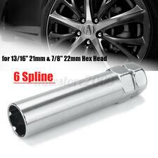 Chrome 6 Spline Drive Tuner Wheel Lug Nut Tool Key Lock 19mm 21mm 3/4''