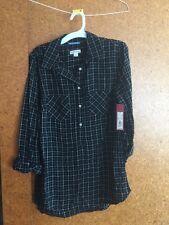 NEW S SMALL Target Merona Women Plaid Button Down Relax Shirt Ebony Black Check