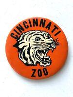 LARGE Vintage CINCINNATI ZOO Pinback Button TIGER Ohio 1950s/1960s SOUVENIR Pin