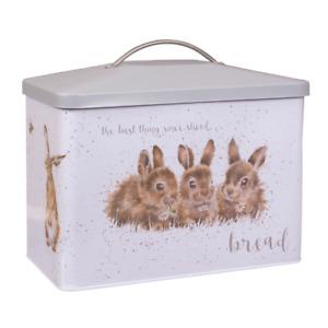 Wrendale Designs Kitchen Bread Bin Rabbit Fox Designs Sturdy Carbon Steel