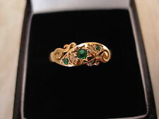 9 CARAT GOLD EMERALD AND DIAMOND DRESS RING BRAND NEW IN BOX MADE IN ENGLAND