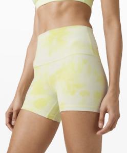 "Lululemon Island Mist Lemon Diamond Dye Align Shorts 4"" CAN 12 AU 16 yoga gym"