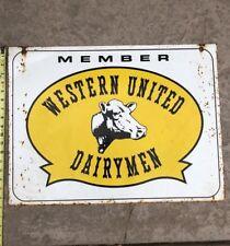 Old Western United Dairymen Advertising Sign Milk Cow