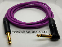 Guitar Lead Van Damme Cable Neutrik Straight to Right Angle Jack Plug Purple 3 M
