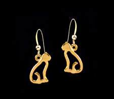 *Ckstella* Perky Cat Kitty Gold Pewter Dangle 14K Gold gf Earrings