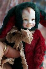 Handmade Bunny Rabbit Artist Doll Porcelain Baby Face 7 inches