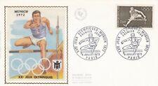 France 1972 1722 FDC soie Munich Jeux Olympiques oblitération Paris
