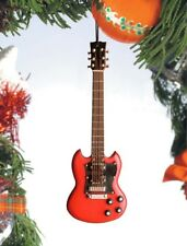 """Miniature 5"""" Red Two Horned Electric Guitar Hanging Tree Ornament"""