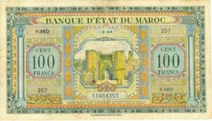 Morocco 100 Francs Currency Banknote 1943