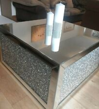 LARGE SQUARE MIRRORED CRUSHED DIAMOND COFFEE TABLE CRUSH SPARKLE CRYSTAL MODERN
