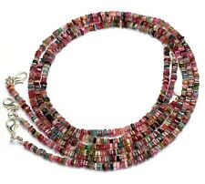 """Natural Multicolor Tourmaline Gem Smooth 3.5MM Heishi Square Beads Necklace 17"""""""