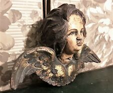 Angel plaster wood carving paint pediment Vintage french salvaged cornice crest