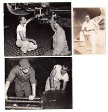 Lot of 3 Vintage WW2 images army air forces mechanics fighter plane? guns #K