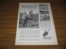 1956 Print Ad Champion Spark Plugs Arabian Mare Horse Truck,Tractor