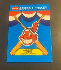 1989 Fleer Baseball Sticker Card Cleveland Indians Chief Wahoo Logo Team History