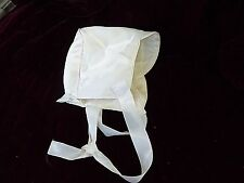Vintage Baby Boy Bonnet Soft White Satin 9-12 Mo. Medium Christening Cap w Ties